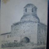 Tablou, Religie, Carbune, Miniatural - Baia Domneasca de la Man. CETATUIA IASI -desen 1917 - St.SACHIM