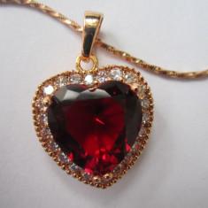 Lantisor placate cu aur, Femei - Lantisor cu Pandantiv inima cristale zirconiu filat Aur 9k