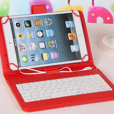 Husa tableta cu tastatura, 8 inch, Universal - Husa Tableta 8 Inch Cu Tastatura Micro Usb Model X, Rosu, Tip Mapa C10