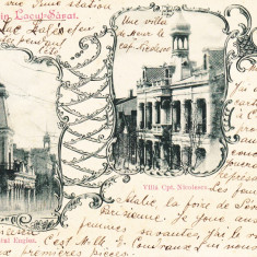 SALUTARI DIN LACUL-SARAT, RESTAURANTUL ENGLEZ, VILLA CPT. NICOLESCU, ST. APR.900 - Carte Postala Muntenia pana la 1904, Circulata, Printata
