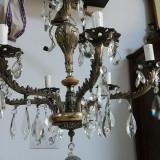 unicat candelabru vechi argintat si cristale de bohemia