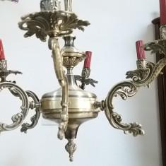 Unicat candelabru vechi argintat cu 6 brate