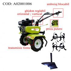 Gardelina Motocultor A02001006, 7 CP, freze, roti, plug BG, cupla, 700-1000 mm