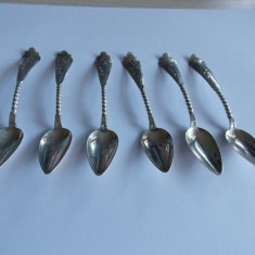 Set 6 lingurite argint, sec XIX, stanta Olanda, Set ceai