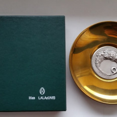Bomboniera, platou argint 925 si vermeil(aurit)!Lalaounis-Grecia.117 grame, Vas