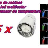 Set 5 bucati Cap de Robinet cu LED in 3 culori + Senzori de temperatura