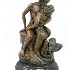 SIRENA- STATUETA DIN BRONZ PE SOCLU DIN MARMURA - Sculptura, Nuduri