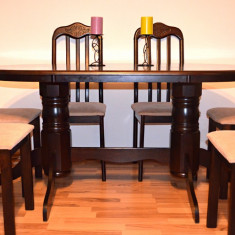 Mobilier - Set /masa ovala +6 scaune-LEMN MASIV SCULPTAT-mobila living/sufragerie/bucatarie