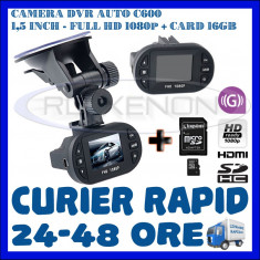 Camera video auto ZDM, 32GB, Wide, Single, Senzor imagine MP CMOS: 12, Full HD - CARD 16GB + CAMERA VIDEO DVR AUTO MARTOR ACCIDENT C600, FULL HD 1080p, SENZOR G