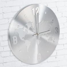 Ceasuri de perete - Ceas de Perete din Aluminiu Harta Lumii