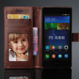 Husa / toc piele fina HUAWEI ASCEND P8 LITE, flip cover portofel, MARO CONIAC - Husa Telefon, Huawei P8