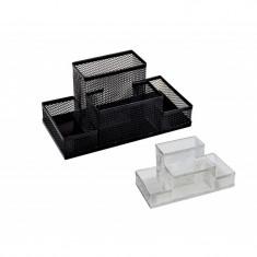Suport din plasa metalica cu 4 compartimente pentru birou - Culoare: Negru (cod produs: DS-95004) - Masina de perforat