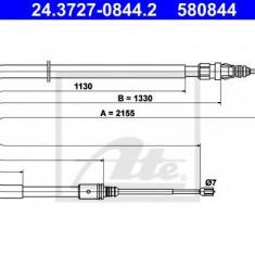 Cablu, frana de parcare PEUGEOT 407 limuzina 2.0 Bioflex - ATE 24.3727-0844.2