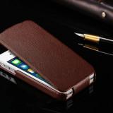 Husa / toc protectie piele iPhone 4, 4s lux, tip flip cover, culoare - MARO - Husa Telefon
