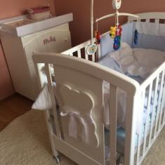 Patut Bebe Bubu + saltea + set complet lenjerie si aparatori - Patut lemn pentru bebelusi, 140x70cm