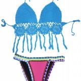 SW964-4 Costum de baie in 2 piese, cu neopren si model crosetat, Marime: S, S/M