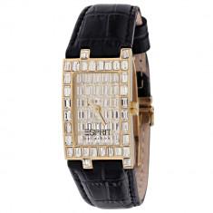 Ceas dama Esprit Collection placat cu pietre, Lux - elegant, Quartz, Placat cu aur, Piele, Nou