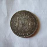 M. 5 pesetas 1891 Spania, argint