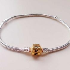 Bratara PANDORA 21 cm+charm inima cadou (placata cu argint 925 si aur 14k) - Bratara argint pandora, Femei