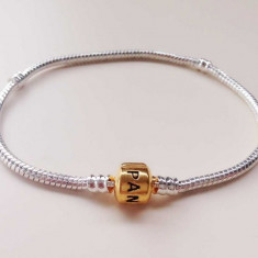 Bratara PANDORA 20 si 21 cm placata cu argint 925 si aur 14k+ charm inima cadou - Bratara placate cu aur pandora, Femei