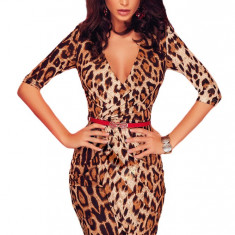 M470-99 Rochie sexy, petrecuta in fata, model animal print - Rochie de club, Marime: M, M/L