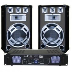 SET BOXE 15 inch BASIC GRI+ AMPLIFICATOR LTC1000 DJ15BG - Amplificator audio
