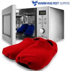 Papuci de Casă de Încălzit la Microunde Warm Hug Feet - Papuci dama, Culoare: Albastru