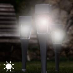 Lampă Solară Pătrată Torţă (pachet de 4)