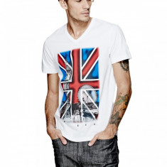 Tricou barbati Guess, Maneca scurta, Bumbac - Tricou Guess UK FLAG white masura S M L