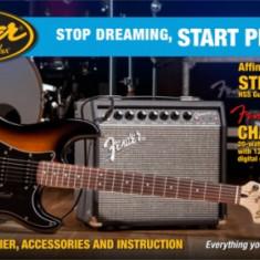 Chitara electrica - Set chitara Squier Affinity Stratocaster HSS, Fender Champion 20