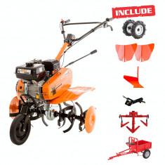 Ruris Motosapa DAC 7009K, 7 CP, 830 mm, roti cauciuc, 2 rarite, plug, adaptor, cultivator, remorca, cu 500 ml ulei gratis - Motocultor