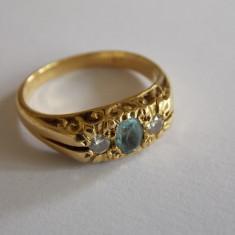 Inel aur, 46 - 56 - Inel de aur cu safir si diamante