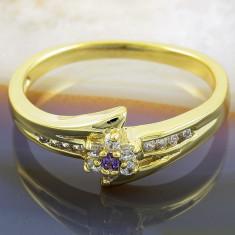 Inel placate cu aur - Inel placat cu aur 18k, cu Zirconiu Alb Clar si Mov, cod 945