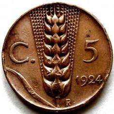 ITALIA - REGAT, 5 CENTESIMI 1924, SPIC DE GRAU !!!, Europa, An: 1924, Cupru (arama)