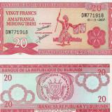 BURUNDI- 20 FRANCS 2007-11-01- UNC!! - bancnota africa