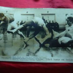 Fotografie mare de Presa- Meci de Handbal Romania-Danemarca1960, 29x17cm