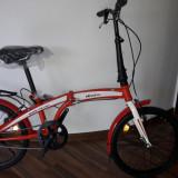 Bicicleta pliabila cu roti de 20 inch pentru adulti si copii Velors - Bicicleta pliabile, 20 inch, 20 inch, Numar viteze: 1, Otel, Negru-Rosu