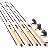 Lanseta - Set 4 lansete Sponnong 3, 3m cu 4 mulinete DF50, cu 9+1 rulmenti si bait runner