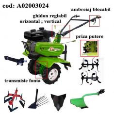 Gardelina Motocultor A02003024, 7 CP, freze, roti, plug hoby, rarita fixa, plug cartofi, prasitoare hoby, cupla, 1000 mm