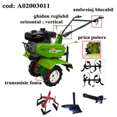 Gardelina Motocultor A02003011, 7 CP, freze, roti, plug BG, prasitoare hoby, cupla, 1000 mm