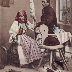 Romania, carte post. UPU circulata 1900: Costume pop. barbat pipa, femeie fuior - Carte Postala Banat pana la 1904, Fotografie