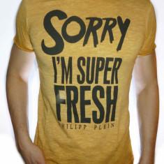 Tricou Philipp Plein - Tricou slim fit - Tricou barbat - LICHIDARE STOC - Tricou barbati, Marime: S, M, XL, Culoare: Galben