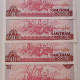 Vietnam set lot 4 bancnote consecutive 500 dong 1988 UNC **