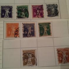 Elvetia 1907-24 arbaleta / 9 v. stampilate