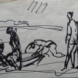 Miklossy Gabor (1912-1998) - Compozitie cu nuduri in peisaj, tus pe hartie - Pictor roman, Acrilic, Altul