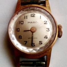 Ceas dama, Elegant, Mecanic-Manual, Placat cu aur, Analog, 1940 - 1969 - Mabo Antichoc 17 jevels, ceas de dama mecanic, carcasa placata cu aur