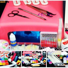 Kit Unghii false Fraulein38 gel set manichiura lampa uv pila electrica
