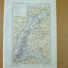 Baden Marele Ducat Germania Rin Karlsruhe 1887 - Harta Germaniei