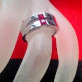 Inel placate cu aur - Inel Fashion logodna- INOXIDABIL-Placat cu aur alb si Swarovski- marimea 8