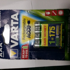 Baterie Aparat foto Varta, Tip AAA (R3) - ACUMULATORI VARTA R3 AAA, 4 BUC / SET, BATERII REINCARCABILE Ni-MH, 800 mAh